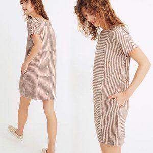 MADEWELL Stripe-Play Button-Back Tee Dress